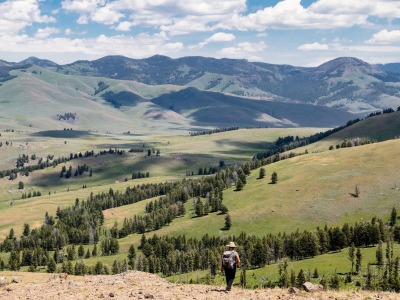 A hiker in Yellowstone's Lamar Valley