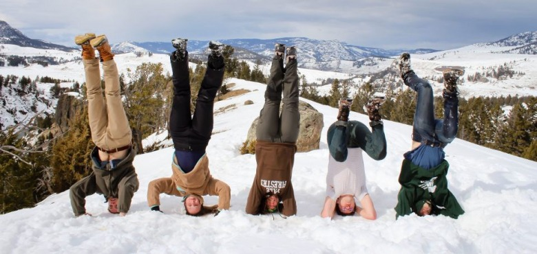 Anna's friends at Yale find the snow on their recent spring learning expedition to Yellowstone