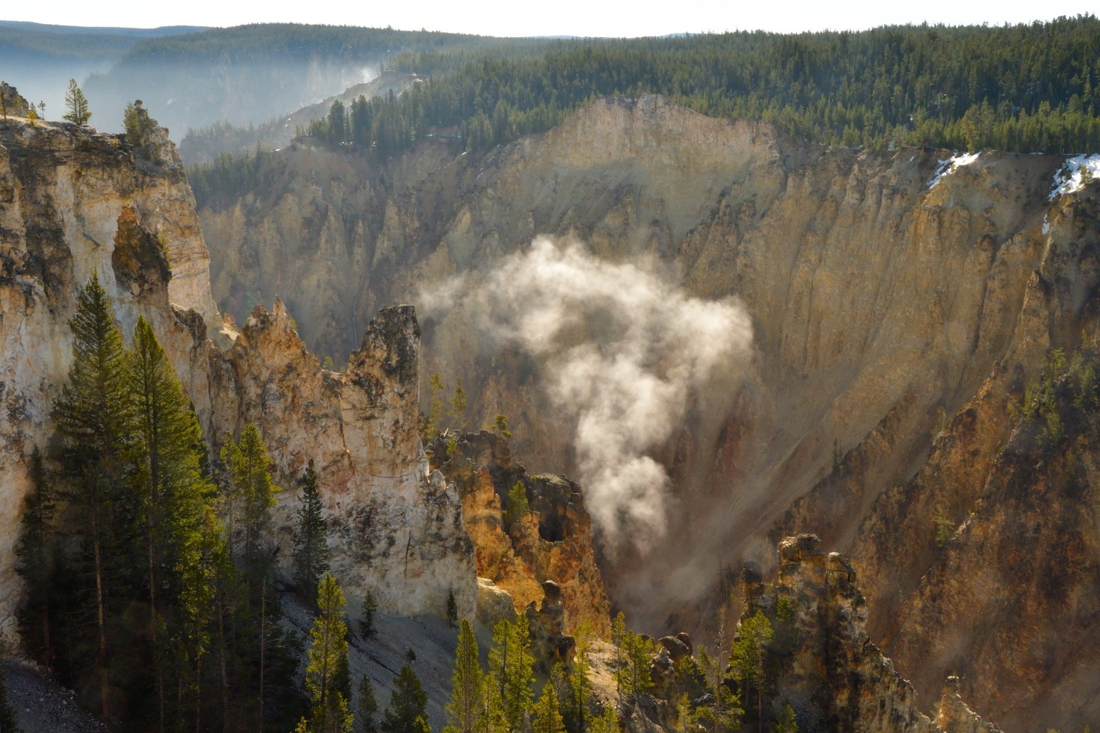 On a recent cool spring morning a plume of steam rises from up out the floor of the Grand Canyon of the Yellowstone River. Photo courtesy Steven Fuller