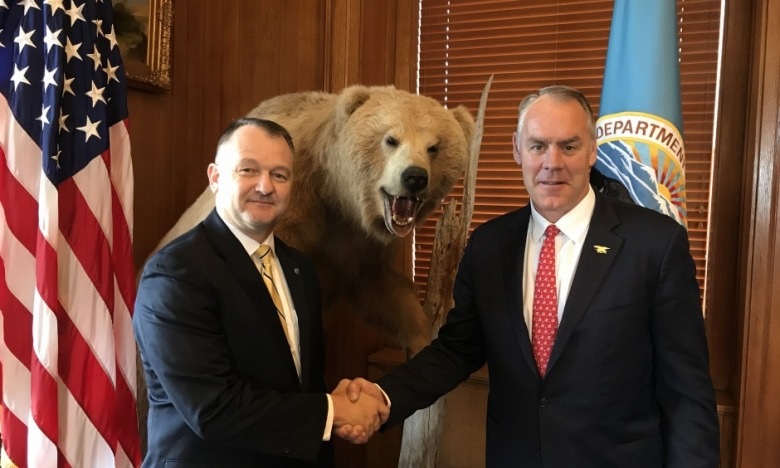 "Cameron ""Cam"" Sholly, who will become the next Yellowstone superintendent after Dan Wenk, and Interior Secretary Ryan Zinke"
