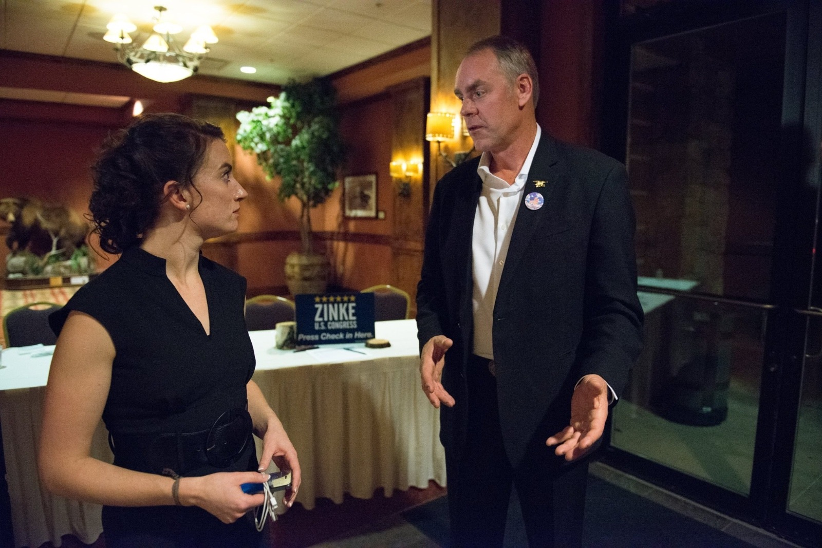 Shelby Demars, partner at The Montana Group, circulated this photo of her and Ryan Zinke on social media