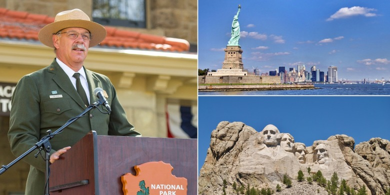 During Wenk's tenure, in addition to being at the helm of Yellowstone, he oversaw major restoration of both the Statue of Liberty and Mount Rushmore, two of the most iconic landmarks of American patriotism. Photos courtesy NPS.  Mount Rushmore photo courtesy Flickr user: Nick Amoscato
