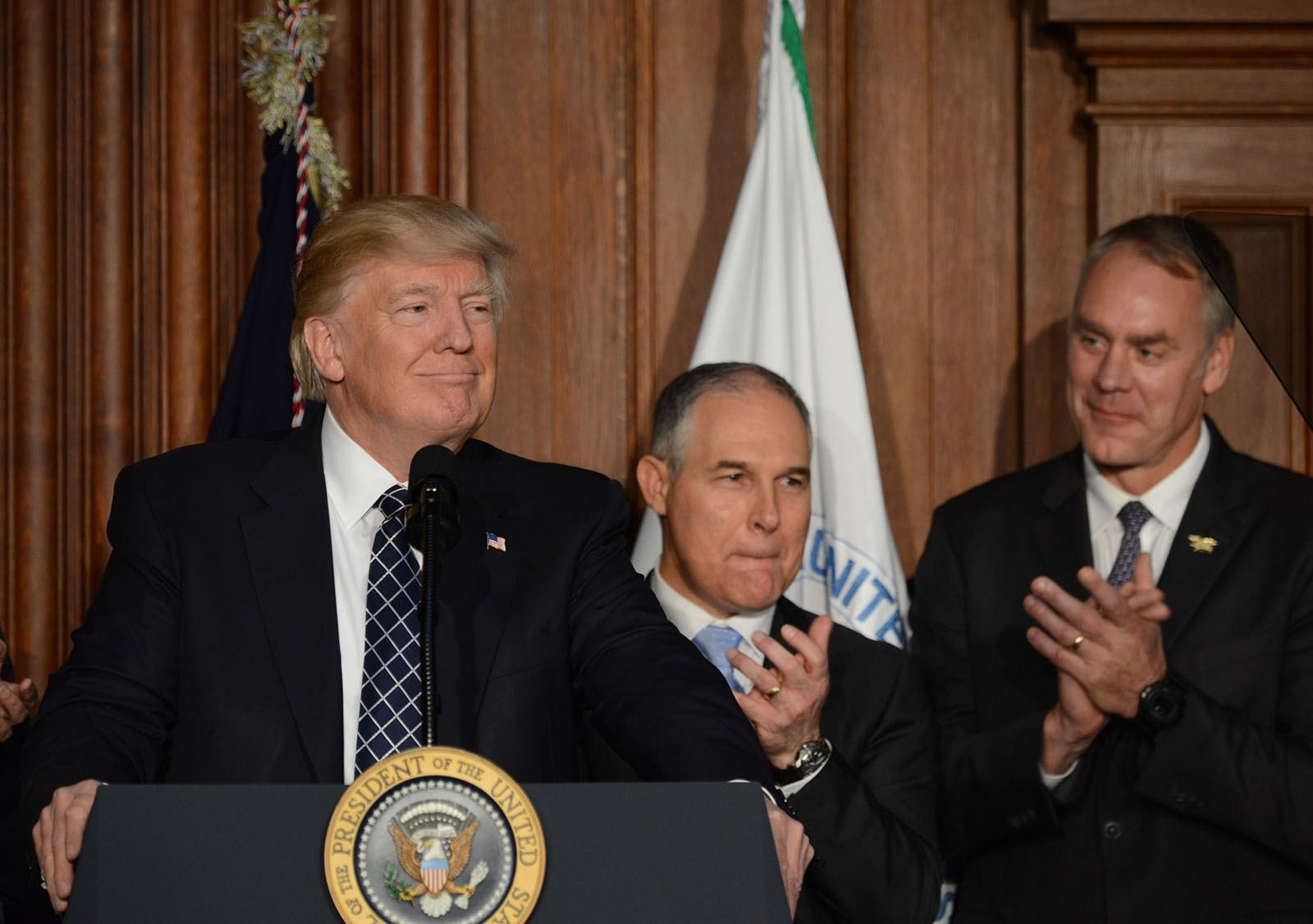 President Donald Trump and two of his main embattled cabinet secretaries who wield huge sway over U.S environmental policy and America's public lands, EPA Administrator Scott Pruitt and Interior Secretary Ryan Zinke. Photo courtesy US Interior Department