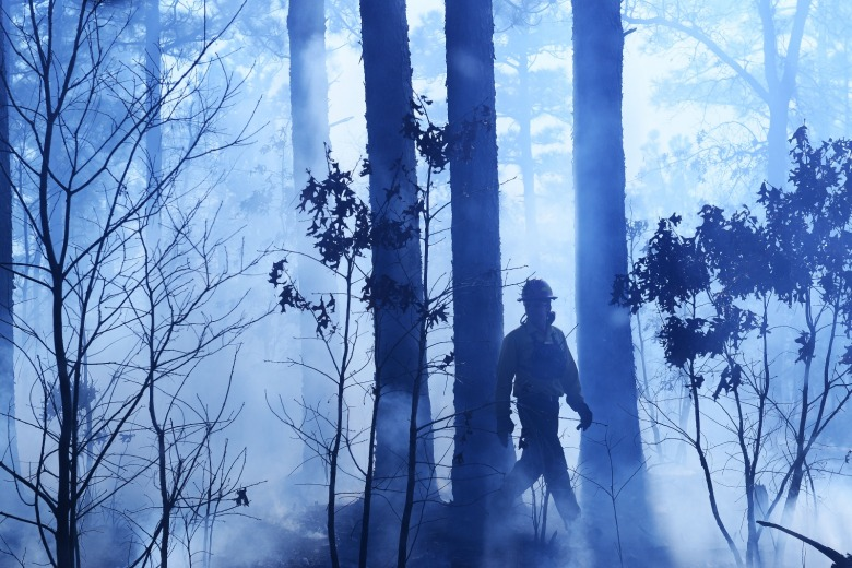 A firefighter strolls through the aftermath of a burn. Photo courtesy US Dept. of Defense