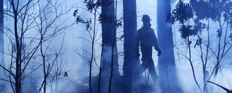A firefighter strolls through a burn