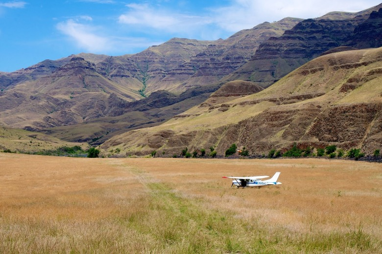 Federal wilderness areas have been spared remote airstrips like this one in Hells Canyon along the Lower Snake River in Oregon. Legislation moving through Congress would allow some wildlands to become landing strips, shattering the sense of mechanized-free isolation so rare in an ever-crowded world. Photo courtesy Sam Beebe/Ecotrust