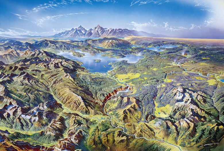 Heinrich Berann's illustration of the Greater Yellowstone Ecosystem, which will serve as Sean Cummins' outdoor reporting office for the summer.  Image courtesy NPS