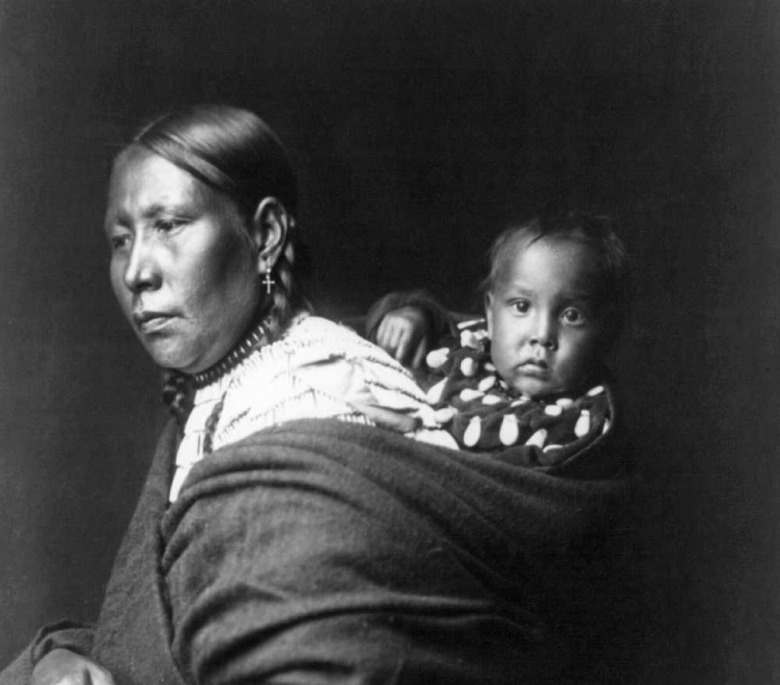Lakota Mother and Baby. Photograph by Edward S. Curtis