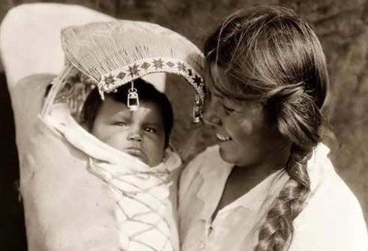 Achomawi Mother and Baby. Photograph by Edward S. Curtis