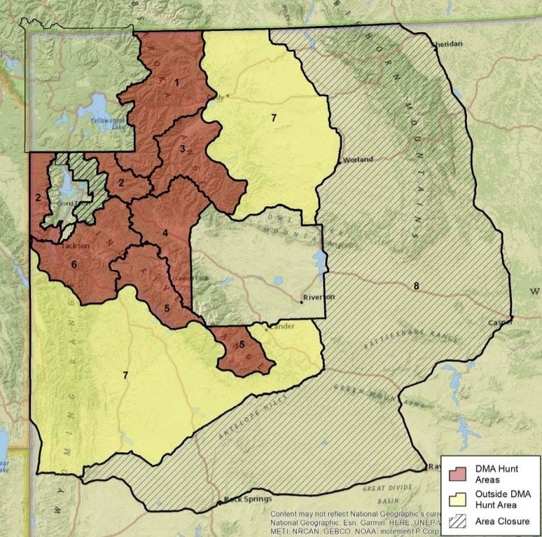 Three of the seven hunt zones reside primarily in federal public lands either adjacent to, or close proximity with, Yellowstone National Park, Grand Teton National Park, the National Elk Refuge and areas around Jackson Hole. Hunt zone in yellow, zone 7, would allow the taking of up to 12 grizzlies of either sex. Map courtesy Wyoming Game and Fish Department