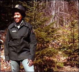 Smart, wide-eyed and innocent, Melody Mobley, was euphoric about becoming the Forest Service's first-ever Black woman forester.  This photo was featured in a special brochure promoting diversity and it was taken around the same time Mobley was sexually attacked.