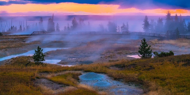 Steamy geysers along at West Thumb near the shore of Yellowstone Lake. Photo courtesy National Parks Conservation Association