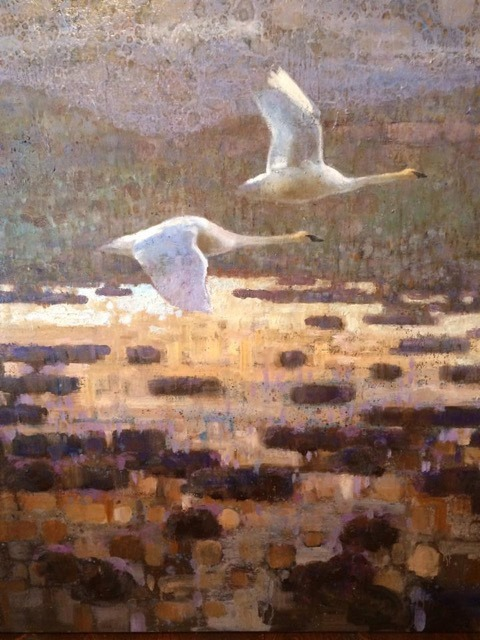Trumpeter Swans, one of Ewoud deGroot's paintings of the Centennial while being an artist in residence at the Taft-Nicholson Center.