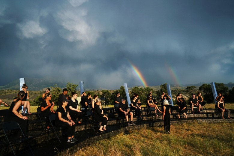 The Symphonic Body / Water performance, with a rainbow,  conducted by Ann Carlson at Mountain Sky Guest Ranch in Paradise Valley, Montana.  Photo by Elly Stormer Vadseth