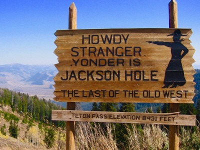 Sign at doorstep of Jackson Hole