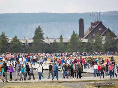An eruption of masses at Old Faithful