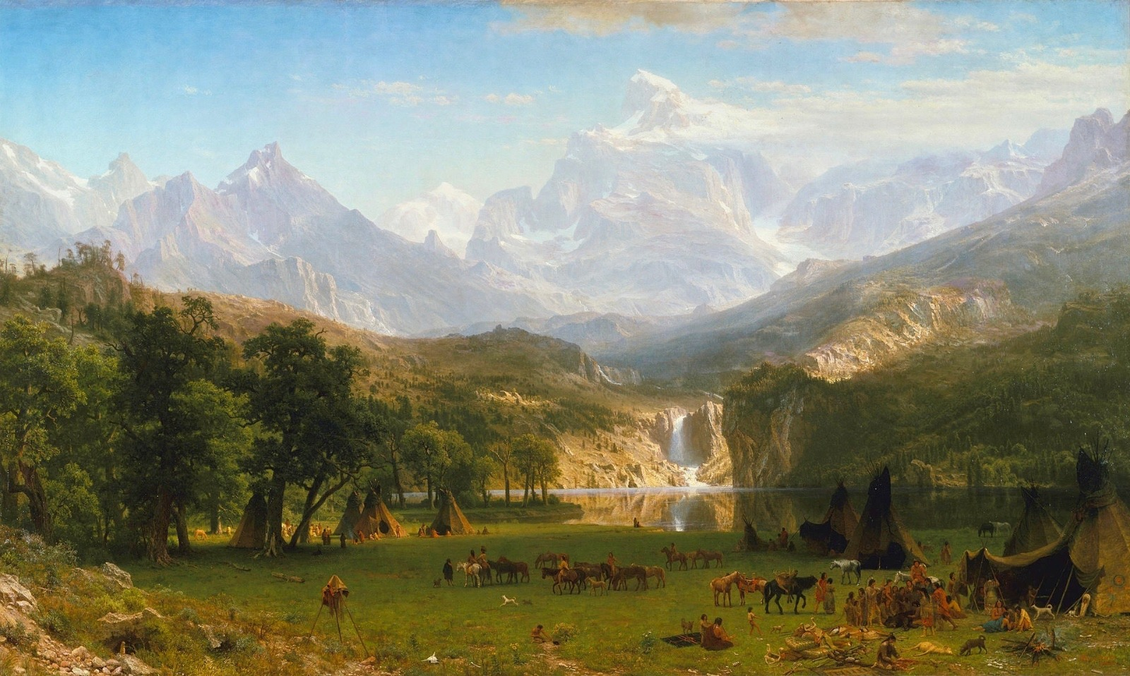"""The Rocky Mountains, Lander's Peak"" (1863) in Metropolitan Museum of Art, New York City.  This painting, completed while the Civil War was still raging and 27 years before Wyoming gained statehood, conveys the scene of a Shoshone encampment alongside the Wind River Range"