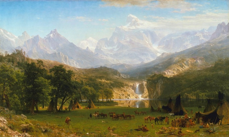 """The Rocky Mountains, Lander's Peak"" (1863) in Metropolitan Museum of Art, New York City.  This painting, completed while the Civil War was still raging and 27 years before Wyoming gained statehood, conveys the scene of a Shoshone encampment alongside the Wind River Range."