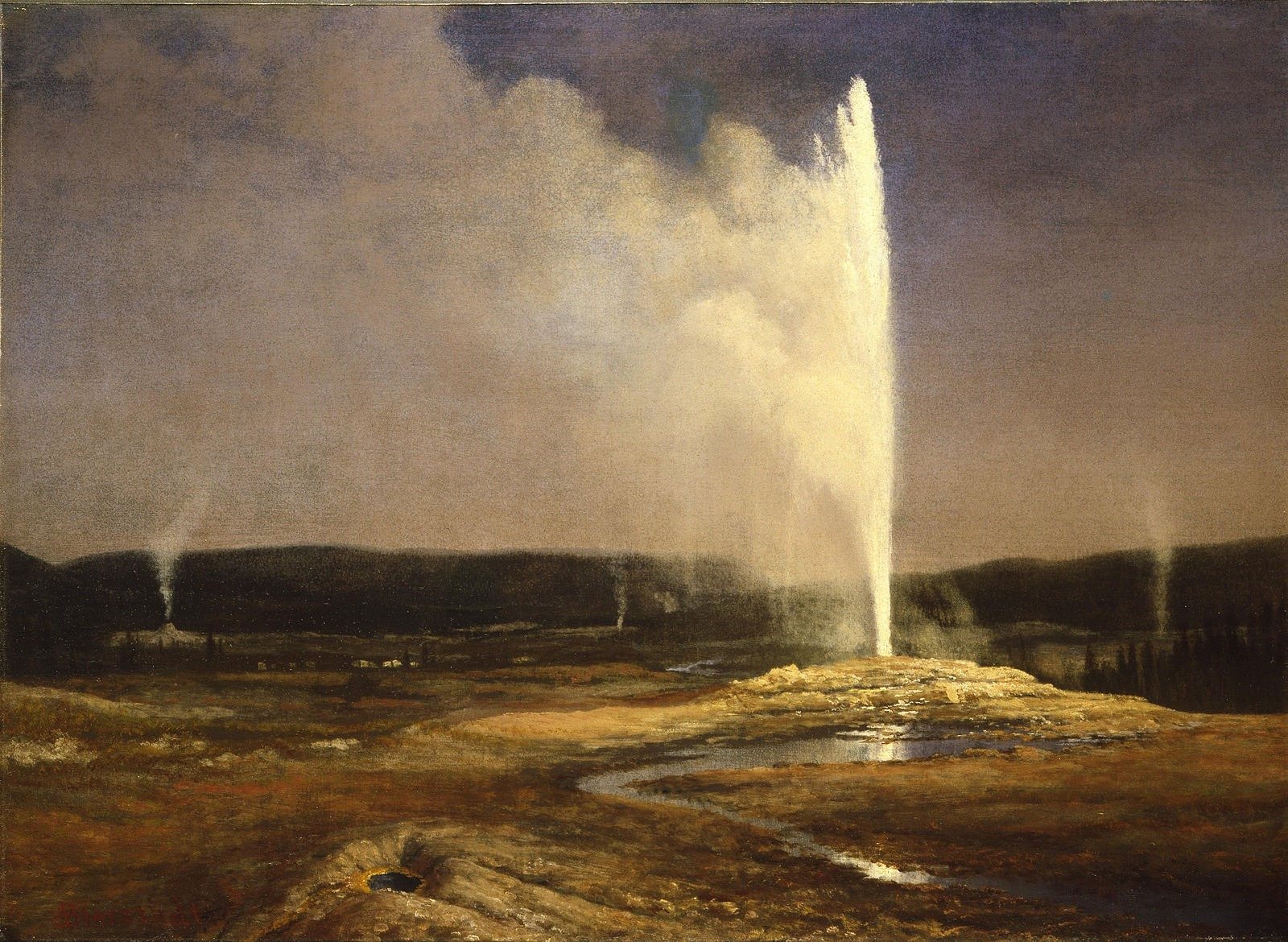 "Bierstadt's ""Geyers in Yellowstone"" (circa 1881) in the Whitney Museum of Western Art permanent collection in Cody."