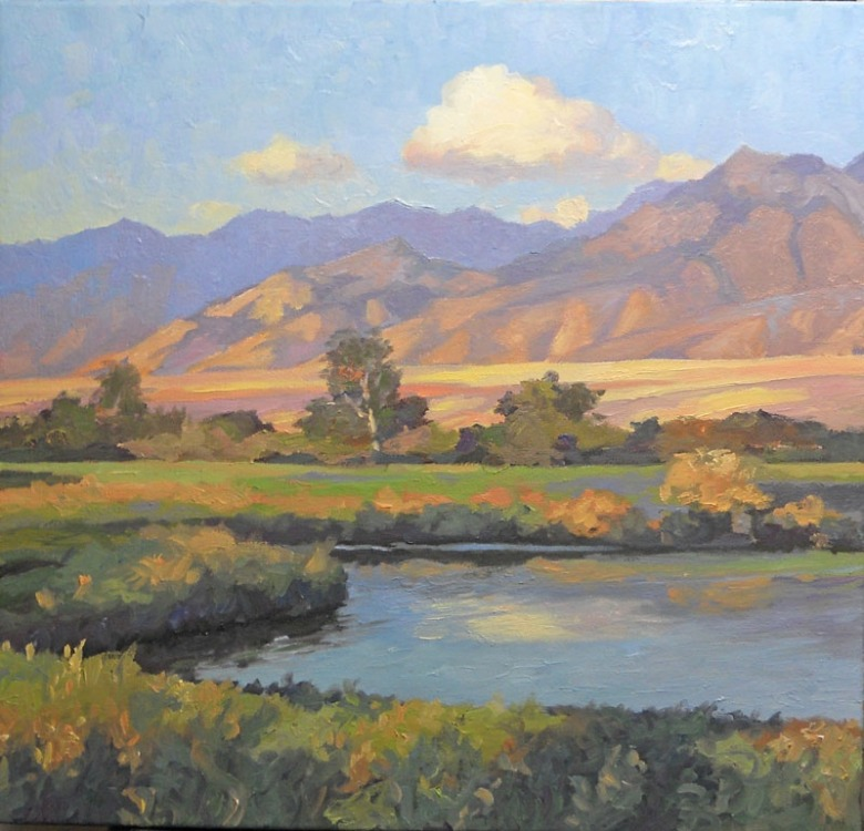 """Bridger Mountains—Summer"" by painter Bruce Park (https://www.bruceparkarts.com).  Native people knew the area stretching west of present-day Bozeman as the ""Valley of Flowers""."