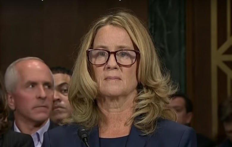 Christine Blasey Ford during testimony on Capitol Hill