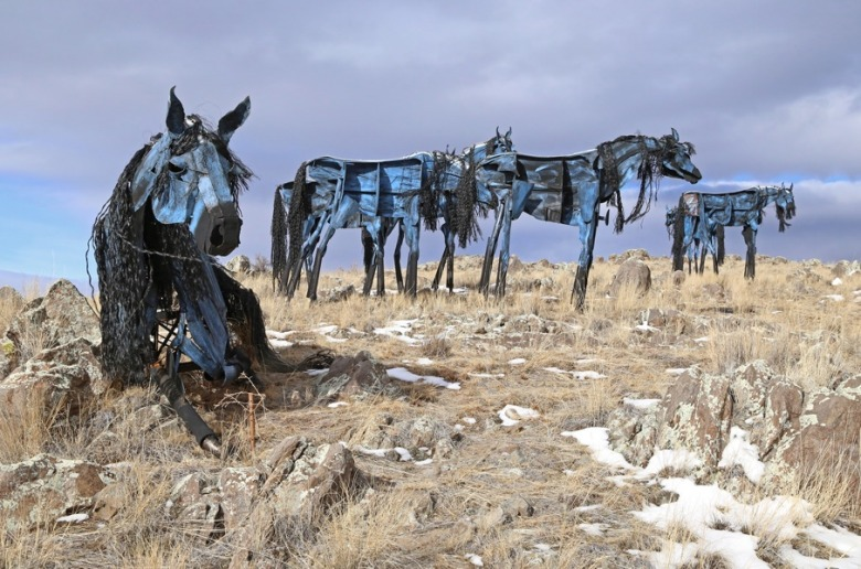 "Jim Dolan's ""Bleu Horses"" are something of a landmark, inhabiting a bench of land north of Three Forks along US Highway 287.  They've served as inspirations to Gurnett and Dolan himself a mentor.  Photo courtesy Jim Dolan"