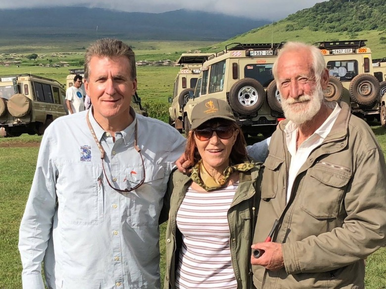 Mike Sutton, executive director of the Goldman Environmental Foundation, with Dr. Margaret Jacobsohn and Garth Owen-Smith in Africa.