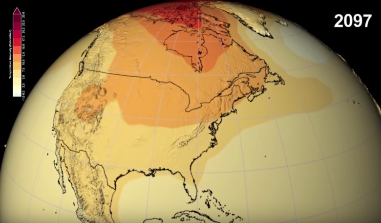 Temperatures are expected to dramatically rise everywhere but the Arctic and midsection of the US, including the Rockies, will experience even hotter conditions.  Image courtesy NASA . Check out videos at end of Olsen's analysis.