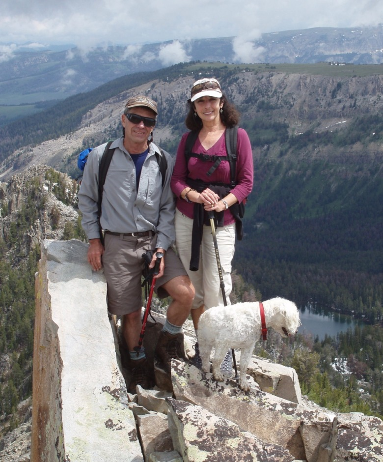 Writer-conservationists Earle and Pattie Layser in the high country along with their trusty canine friend, Benji.
