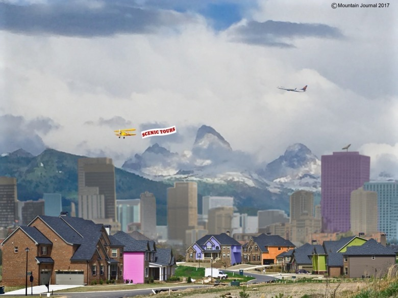 Mountain Journal graphic specialist Gus O'Keefe created this image as a dramatic spoof  on how development is spilling over the Tetons from Jackson Hole into Idaho.  But looking out two generations, some demographers say it's no joke as the transofrmation of several Greater Yellowstone valleys is already well underway.