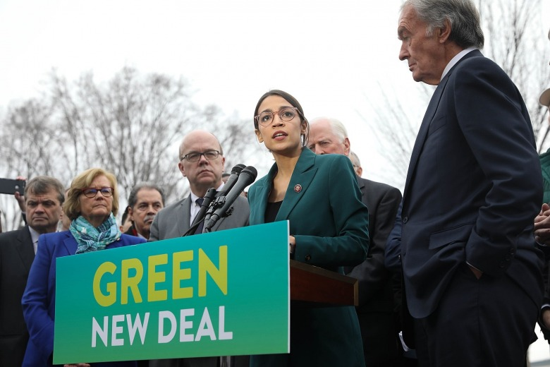 U.S. Rep. Alexandria Ocasio-Cortez joins other Democrats in early 2019 in rolling out details of the proposed Green New Deal.  Photo courtesy  US Senate Democrats/WikiMedia Commons