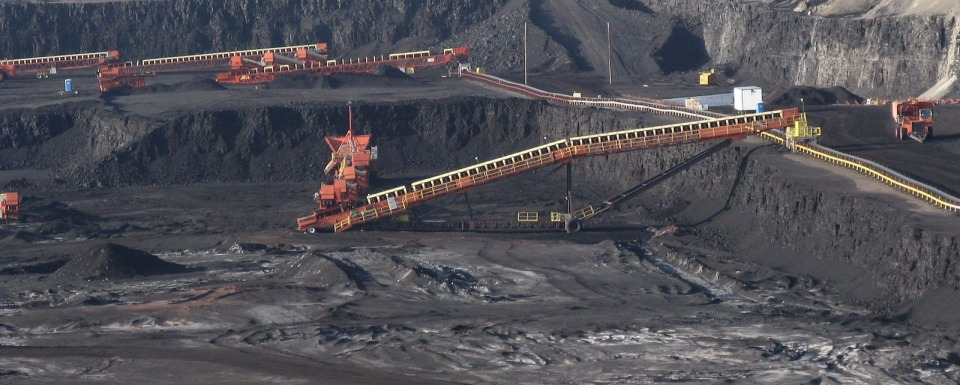 A massive open-pit coal mine in Wyoming