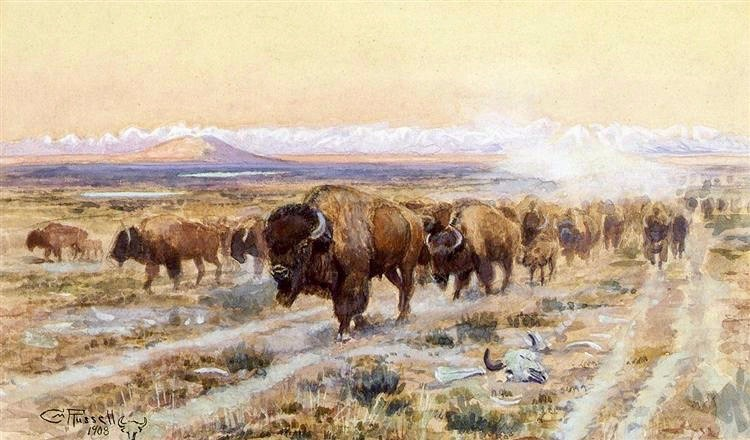 """The Bison Trail,"" a painting by legendary Montana artist Charles M. Russell who has a national wildlife refuge named after him along the Missouri River Breaks and in close proximity to the American Prairie Reserve. Some of Russell's murals adorn the state capitol  building in Helena. Russell mourned the loss of wildness on the prairie, in particular the decline and near extinction of bison.  Public domain photo courtesy WikiArt"