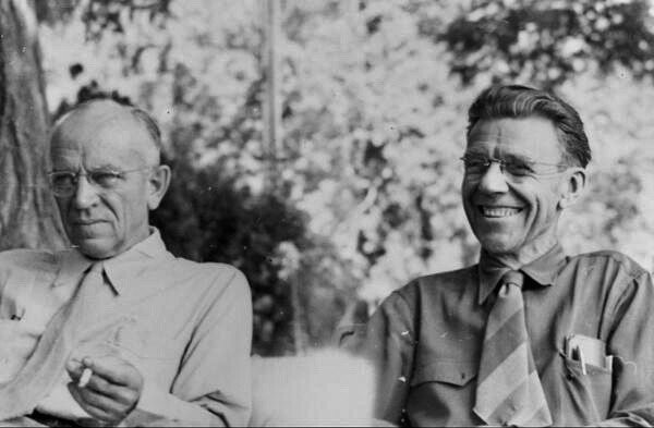 Aldo Leopold and Jackson Hole-based elk biologist and wilderness advocate Olaus Murie in 1947, a year before Leopold's tragic death. Photo courtesy Murie family and Aldo Leopold Foundation., (www.aldoleopold.org)