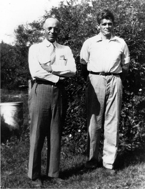 Aldo Leopold, left, and H. Albert Hochbaum. Hochbaum (1911-1988) was one of several Leopold students who went on to distinguish themselves in different realms of ecology, setting the stage, in fact, for the rise of modern conservation biology.  They included Leopold's own children.  Hochbaum, a field researcher and artist, is noted for his insights about waterfowl, his work being used in campaigns to save wetlands from being drained and converted to crops or development.  Photo courtesy Aldo Leopold Foundation, (www.aldoleopold.org)