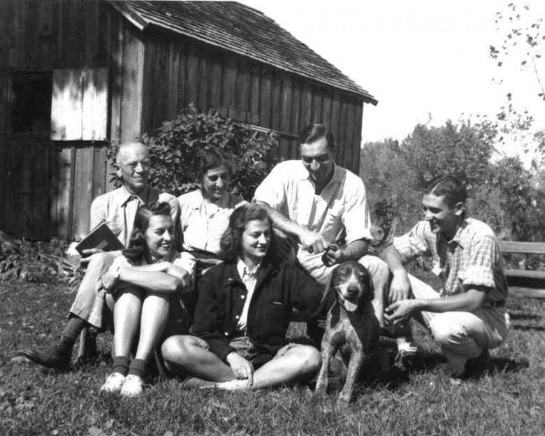 "The Leopold clan at their ""shack"" in Wisconsin. Many of the ideas for A Sand County Almanac, drawing, too, from Leopold's tenure with the U.S. Forest Service in the West, were galvanized here.  Back row, left to right: Aldo Leopold, wife Estella and sons and Luna and Starker. In from, daughters Nina and Estella with family dog, Gus.  Photo courtesy Aldo Leopold Foundation, (www.aldoleopold.org)"