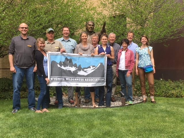 Wyoming Wilderness Association staff and governing council at a recent meeting in Lander. Bronze statue of the late Paul Petzolt, founder of the National Outdoor Leadership School and mentor to generations of conservationists, rising in the back.  Enjoy the brief video below about Wyoming's Red Desert. It will take your breath away.