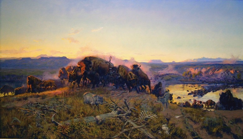 "Charles M. Russell's masterpiece portrayal of bison along the Missouri River not far from where a national wildlife refuge is named in his honor and where the American Prairie Reserve is re-establishing a wild herd. Title of the painting is ""When the Land Belonged to God.""  See it at the Montana Historical Society."
