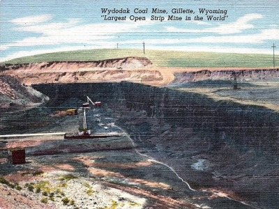 An old postcard touting Wyoming strip mining
