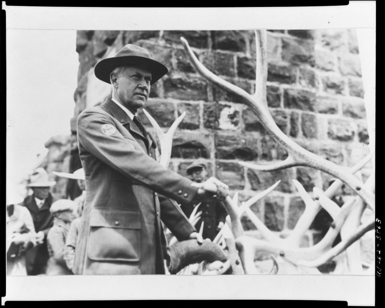National Park Service Director Stephen T. Mather who initially was supportive of dams being built in Yellowstone to serve private water interests outside the park.