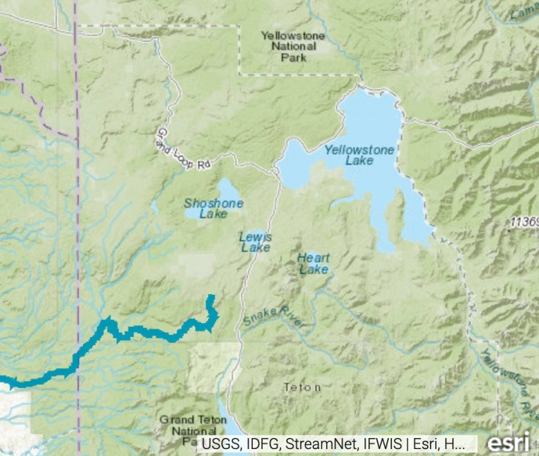 One dam would have been built at the outflow of Yellowstone Lake where the Yellowstone River recommences its journey northward; another dam would have been erected along the Fall River marked in light blue.  For the latter a proposal was advanced to pipe water from the new impoundment beneath the Continental Divide and put it into the Upper Snake River.