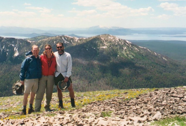 Atop Avalanche Peak with Yellowstone Lake in the distant background, the author joins Brian  and Jill Yochim on a hike.  Photo courtesy Brian and Jill Yochim.
