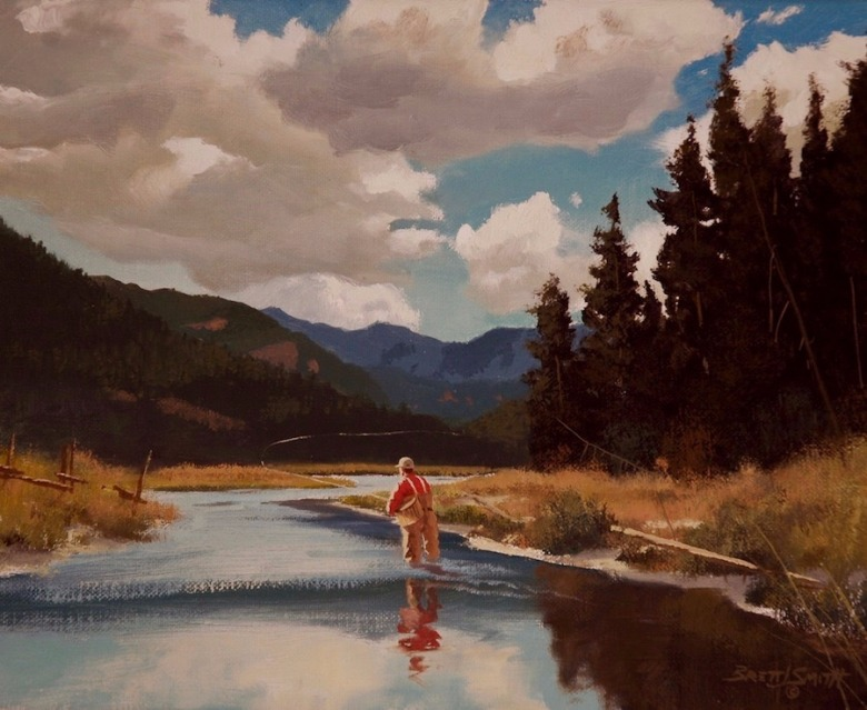 """A Rise Upstream"" by painter Brett James Smith.  Check out more of his work at brettsmith.com"