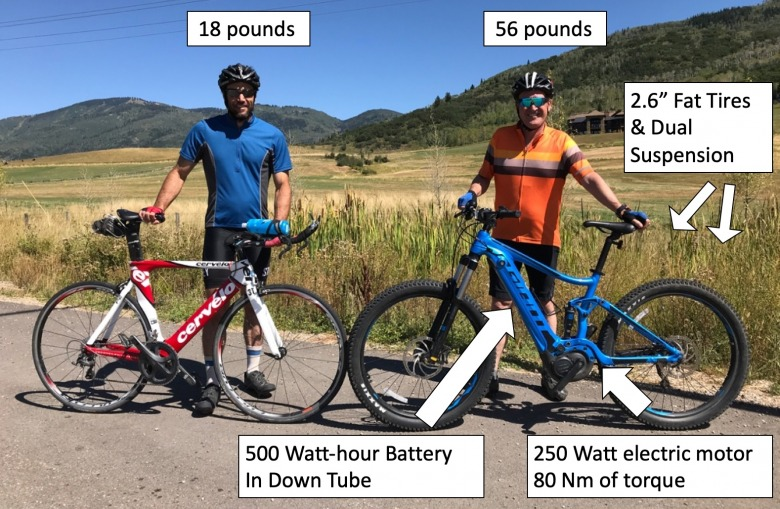 Elite athlete TJ Thrasher, left, with a conventional bike and the author, right, with an e-bike.