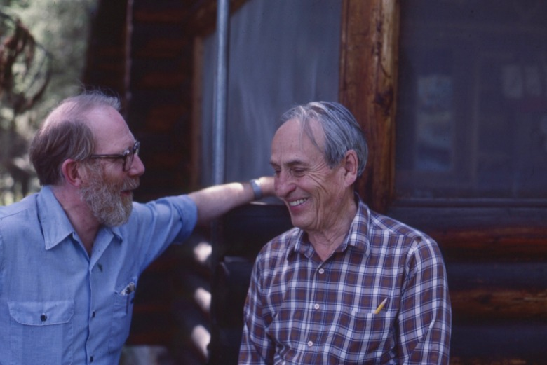 "Doig and good friend, the late Norman Maclean, the Montana-born writer best known for his novella ""A River Runs Through It"" (also turned into a movie adaptation produced by Robert Redford) and ""Young Men and Fire.""  Photo by Carol Doig,  courtesy MSU Library Ivan Doig Collection"