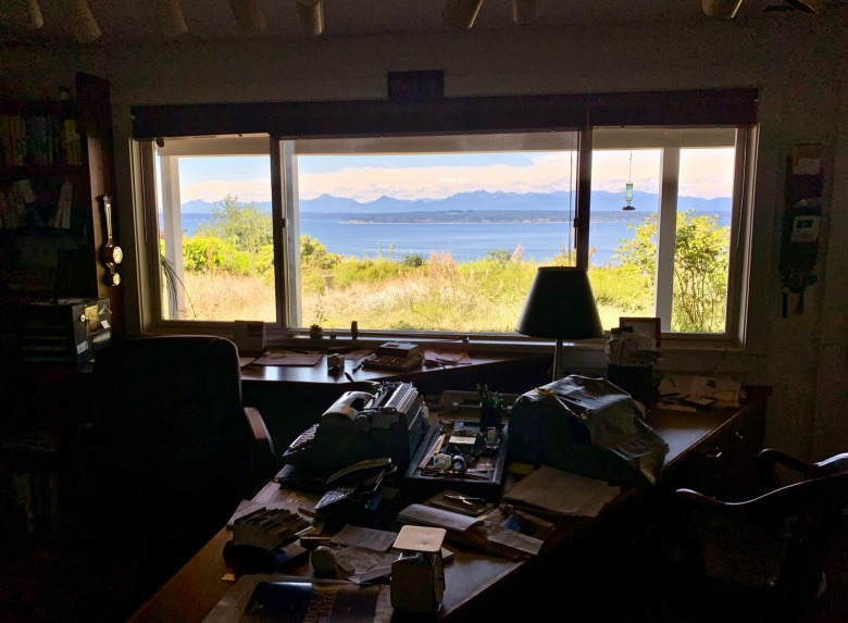 Doig's writing space as it appeared in early August 2019 four years after his passing. Not much has changed. The views of Puget Sound and the Olympic Mountains outside his window remain as inspiring as ever.  Photo by Todd Wilkinson