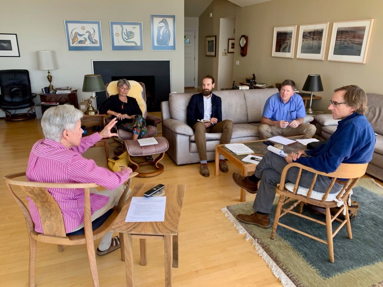 In summer 2019, Carol Doig met with a group of visitors and discussed her husband's journey in his last years. Joining them was her close friend,  Betty Mayfield, who helped assemble Doig's edited manuscripts, diaries, correspondence and other documents that today are part of the MSU Doig collection. Those joining Carol in her living are, left to right, Betty Mayfield,  Dr. Rob Patrick, Justin Shanks a post-doctoral fellow working on the Doig material to make it digitally accessible, and writer Todd Wilkinson of Mountain Journal. Photo by Kenning Arlitsch, dean of MSU Libraries