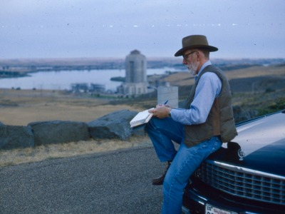 Ivan Doig taking notes at Fort Peck