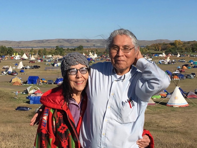 Lois Red Elk (Dakota) and her husband, Dennis Reed, joining people from across the plains at Standing Rock in 2016.