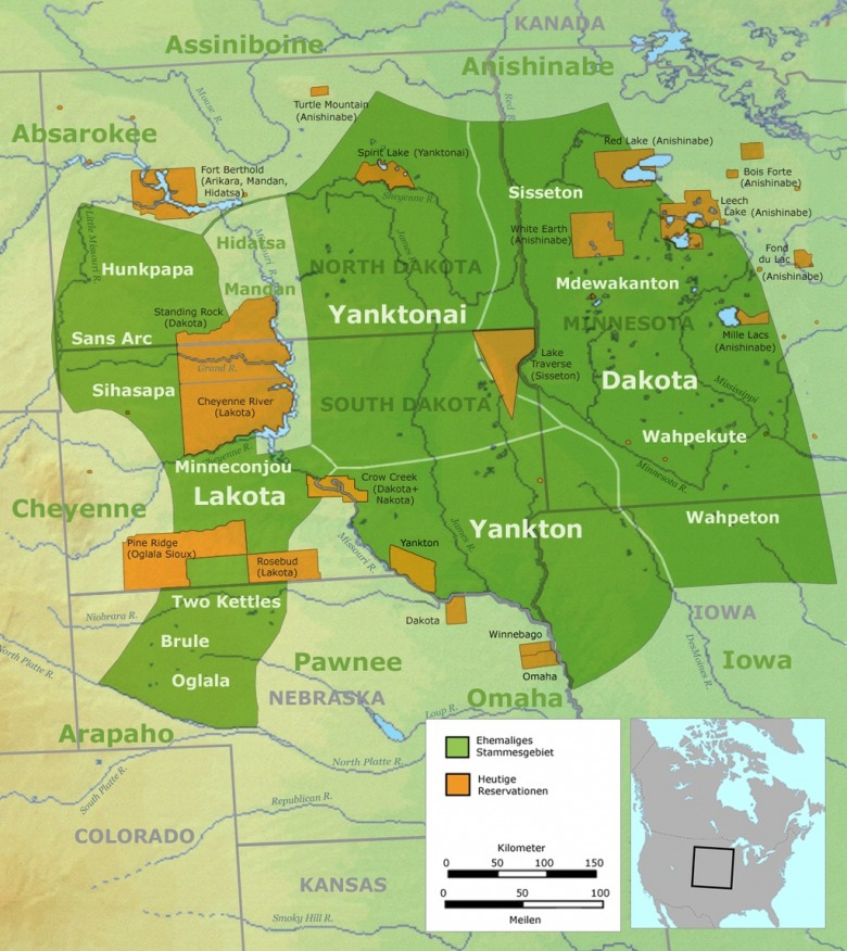 Homelands: where do your family roots originate? This graphic shows where the Lakota and Dakota lived generally prior to 1770 and location/size of current reservation.